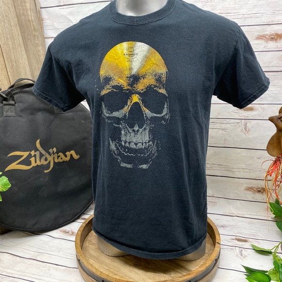 Gildan Other - Tshirt Zildjian Cymbal Skull Drummer Band Shirt L
